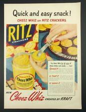 "Vtg. 1959 Cheez Whiz & Ritz Crackers Print Ad Kraft (14""x10.25"") 1B"
