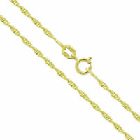 "14k Yellow Gold Diamond Cut Singapore Chain Necklace 16"" 18"""