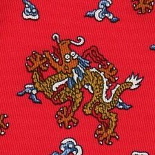 SUPER RARE HERMES BANK OF AMERICA Flying Dragon Red Tie 7751 OA NEW BOX