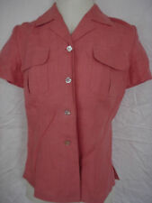 Special Order Tailored  Salmon 100% Linen Shirt Top Blouse Size S