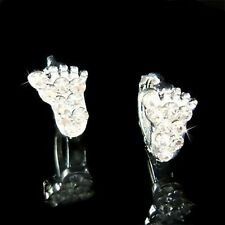 w Swarovski Crystal Dainty Cute Baby Foot Feet Footprint Girls Huggie Earrings