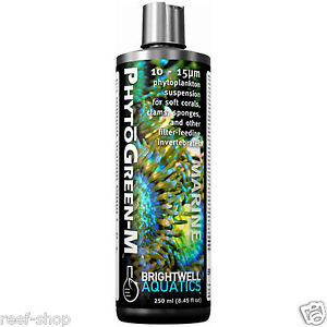 Brightwell PhytoGreen M 250ml Phytoplankton Liquid Coral Food Free USA Shipping