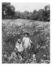 Vintage photo-child-collie-field-wildflowers1-8x10 in.