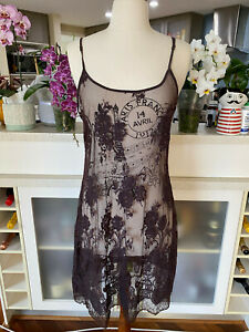 Fab Flannel Brown Lace Slip Dress - Size 3