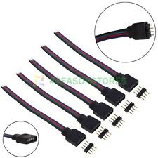5x 4 PIN Female RGB Connectors Wire Cable For 3528 5050 SMD LED Strip Lights