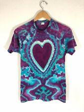 New listing Vintage 70s 80s Heart Tie Dye Single Stitch Blank T-Shirt Acid Wash Grateful S