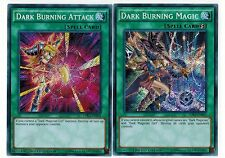 2 Cards* Lot Secret Dark Burning Attack + Dark Burning Magic 1st YUGIOH LDK2