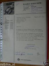 HT123-ORIGINAL AUTOGRAPH TIMO P.J.LEHTINEN FINLAND MANAGER KOIVUNIEMI ,1972