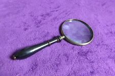 Antique Quality Turned Wood And Brass 10cm Magnifying Glass