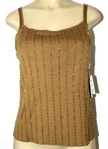 ❤️ RENA ROWAN Gold Seed-Beaded Brown Dress Silk Cotton Tank Top Large NEW! L@@K!
