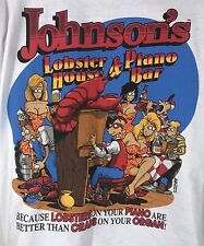 VTG 1993 BIG JOHNSON'S LOBSTER HOUSE PIANO BAR GRAPHIC SHIRT SIZE L USA MADE OG