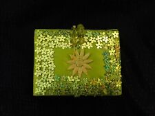 Small Green Fabric Covered Jewelry Box