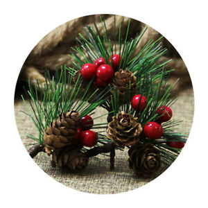 10Pcs Artificial Christmas Green Red Berry Pine Cone Holly Branch Xmas Decorate
