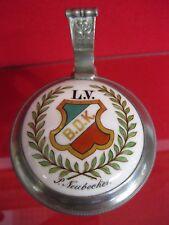 Krug Bierkrug Zinn Punzen Lotterie Verein Berlin Droschken Kutscher Wappen