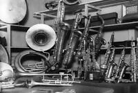 Musical Instruments Vintage Black and White Photo Art Print Poster 24x36 inch
