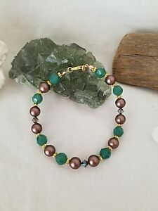 Earth And Sky - Evergreen Bracelet Made With Swarovski Crystals And Pearls