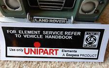 Land Rover Defender 90 110 V8 BL Leyland UNIPART Coopers Filtro PEGATINA