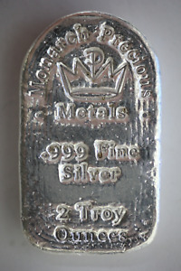 2 oz .999 Fine Silver Monarch Precious Metals Poured Silver Tombstone Bar