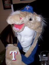 Texas Ranger Mascot Winter Hat NWT Rare Attached Scarf and Gloves