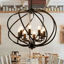 "Industrial Wrought Iron 22"" Large Globe Shade LED Pendant Mulit Light Chandelier"