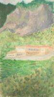 Vintage oil painting landscape mountain house