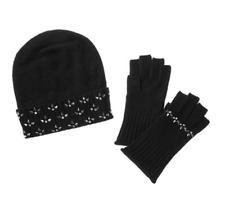 Cullen Cashmere with Rhinestone Fleur De Lys Hat And Glove Set NWT $215
