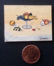 Original Miniature Painting, Fruit Bowl Still Life, Collectible Dollhouse Art