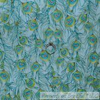 BonEful FABRIC FQ Cotton Quilt VTG Green Blue Gold Metallic Peacock Bird Feather