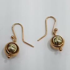 9ct 9k Yellow and Rose Gold Spinning Euroball Drop Dangle Hook Earrings. New