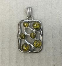 Faux amber pendant with 6 stones 925 silver