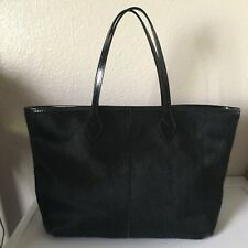 Doncaster black leather trim bag calf hair large defect handbag unique rp $500