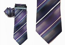 NEW Mens Tie Necktie Purple Blue Stripe by John Ashford T890