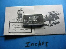 Bull Moose Alaska 1981 Colonel Sanders Chicken Mt. Mckinley Mini 999 Silver Bar
