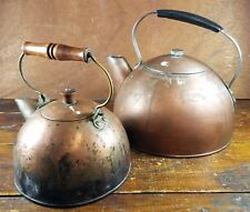 (2) Vintage Copper Tea Kettles - Small & Large Size - Great for Country Kitchen!