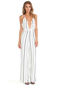 Faithfull The Brand Shutterbabe Jumpsuit White Stripe Deep Plunge Neck Size S