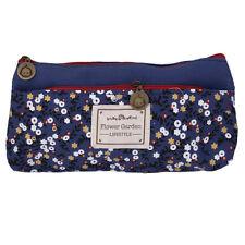 Flower Canvas Pencil Case Cosmetic Makeup Pouch Zipper Bag Purse Dark Blue