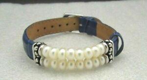 Honora Pearl Rondel Pearl & NAVY BLUE Leather STERLING SILVER BRACELET NWOT