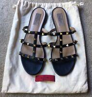 Valentino Rockstud Flat Caged Gladiator Slide Sandals Black Leather Size 40 EUC