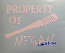 Window Decal Property Of NEGAN Baseball Bat Walking Dead Lucille CarWall Sticker