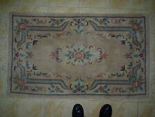 "Splendid Vintage Chinese Thick Rug Carpet Green & Fawn/Beige Backgrnd 59"" x 35.5"