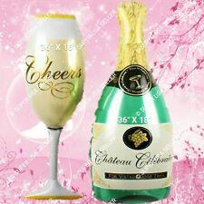 2pcs CHAMPAGNE BOTTLE GLASS Foil Balloons Engagement Bridal Shower Wedding Decor