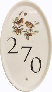 Robin Scene Birds Oval Vertical House Door Number Plaque Ceramic Sign Any Number