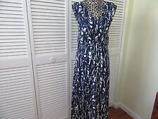 Pure Collection Maxi Dress, Women 6 USA, 12 UK. Blue,white print , v neck,