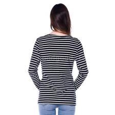 Womens Maternity Striped Nursing Breastfeeding Shirt Long Sleeves Top G3Z7
