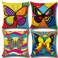 Cartoon Butterfly Pattern Linen Pillow Case Sofa Throw Cushion Cover Home Decor