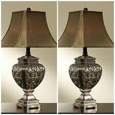 "TWO ANTIQUE STYLE 32"" RESIN AGED FINISH TABLE LAMP LARGE LINEN SHADE LIGHTING"