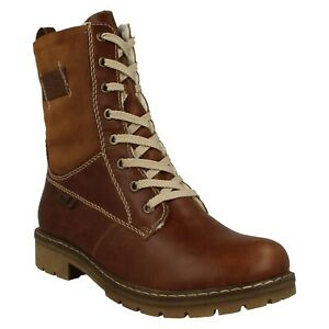 RIEKER TEX LADIES FLEECE LINED CASUAL LACE UP MILITARY BROWN CALF BOOTS Y9114