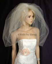 "Wedding Veil Bubble Bridal Veil Full Puffy 108"" Width 30"" Length Made in USA"
