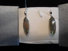 Marquise Labradorite Dangle Statement Earrings-925 Sterling Silver-24.78 Carats