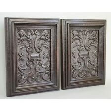 Stunning Pair Carved Antique 17th c English Geometric Decorative Salvaged Panels